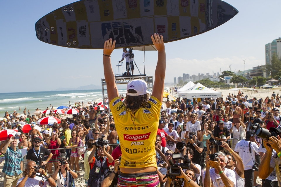 "Wright said. ""This whole event has been stepping stones for me. I started off a bit shaky and this is my first even where my family is not here with me. Brooke Farris was here looking after me and thanks to everyone for all of their support. After I lost that Round 3 heat I just wanted to catch waves and I stayed busy from then on. It's just the way it worked out. I just love catching waves. I just kept building and building and I wouldn't want it any other way. This is just fantastic to come to Rio, I love it."""