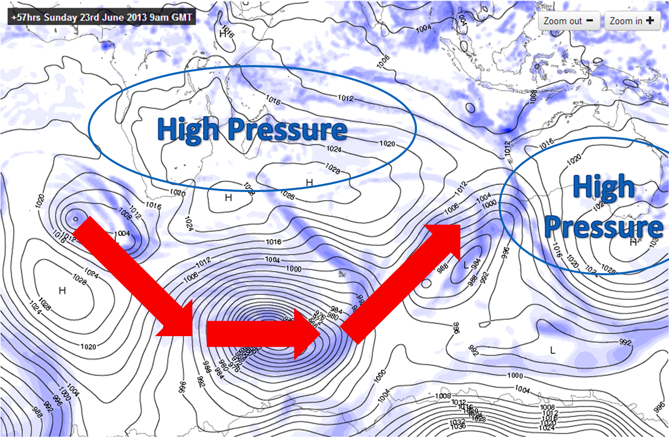 High pressure steers storms into the Keramas swell window.