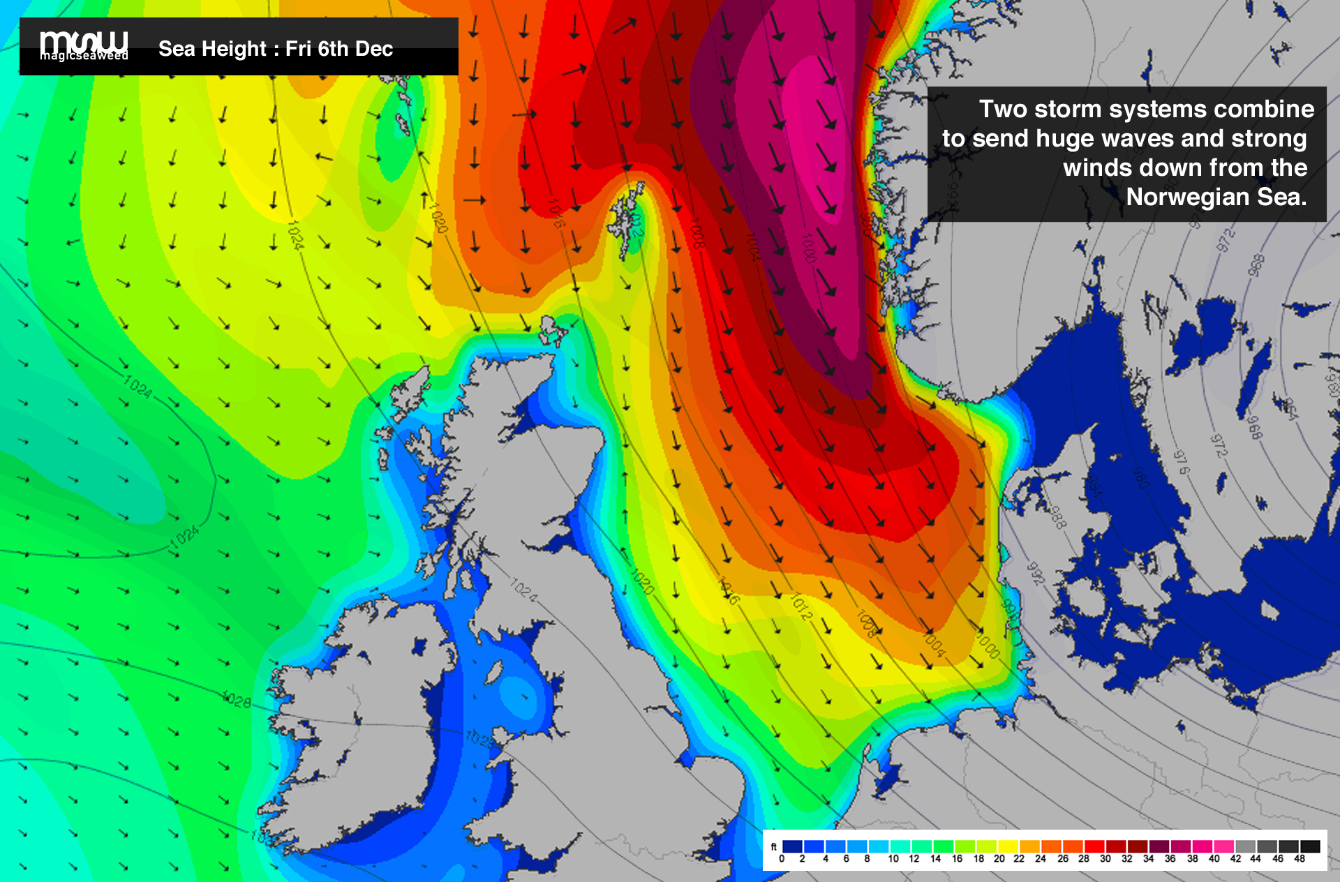 The chart which provoked a whisper of excitement throughout the North Sea surfing community.