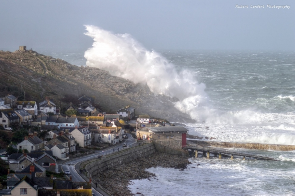 Dozens of photographers gathered at Sennen on Saturday in anticipation of scenes such as this. With the Seven Stones lightship recording 35 ft nearby, they were not disappointed.