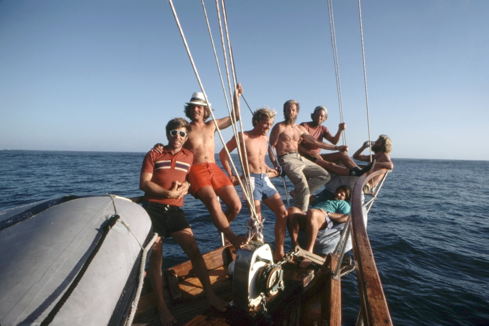"Bill Heick (third from left) and his Northern California surf crew (dubbed ""The Golden Beards"") aboard the Moana Manu, off Lombok, Indonesia, circa early 1980s."