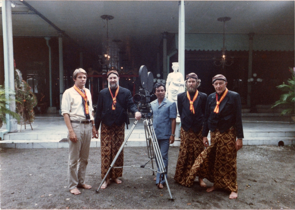 Bill and William R. Heick, filming traditional Indonesian dance, circa late 1970s.