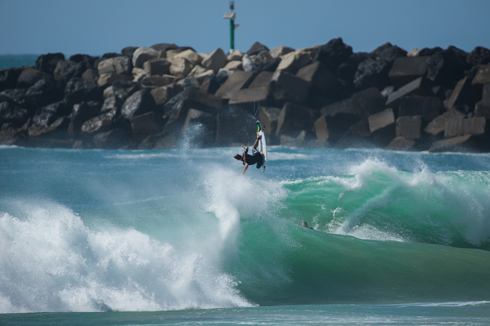 Caio Ibelli flairing well and truly above the lip.