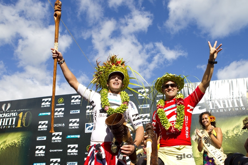 A very happy Andy took to the podium with CJ. Winning here in French Polynesia is second only to Hawaii.