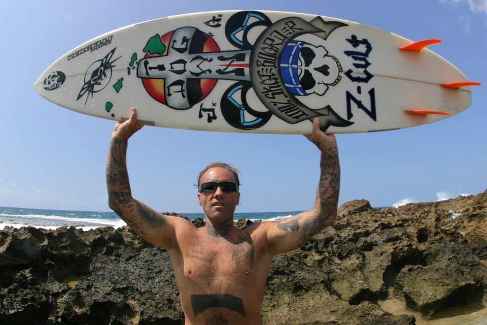 For how long have you known Jay Adams?    I met Jay when I was 13-years-old and he was a punk rocker -- hanging out with him I learned how to use my back foot in both surfing and skating. That's when we started drawing on skate decks and our surfboards.    It was around the time I started drawing the DogTown drawings. We were always spray painting the walls around town and punk shows (but not like how kids tag today). Jay also brought me to the Lord.    Tell us a little about him...   Jay Boy Adams a unique and rare character that you would never forget if you meet. He leaves a strong impact on you because he figures you out before you can. He's had a very rough life, but not like any life you or I know of. His Mom was a free-spirited loving person, but with a gnarly edge to her, hence Jay Boy.    His step-dad started the Z-Flex skateboard company a history going way back. He is a living legend and extremely talented, always one of the best guys in the water, and the nicest guy you ever meet. That's why they make movies about him and write books about him. Jay is like an older brother to me. I will always be there for him.