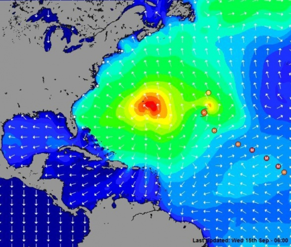 Hurricane Igor's swell with Hurricane Julia running in directly behind ... swell central