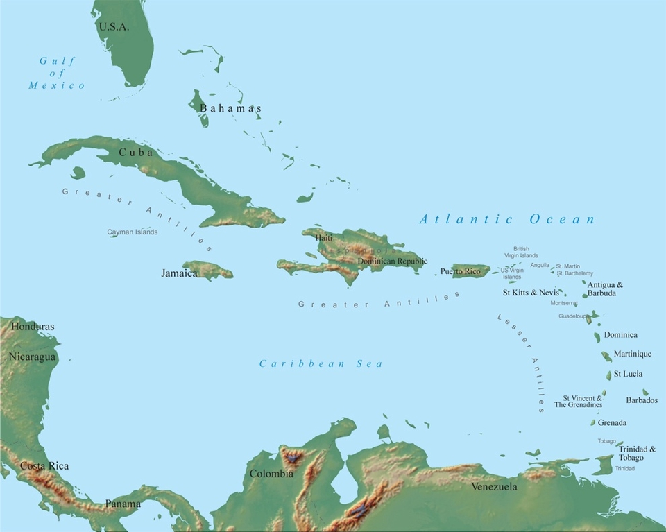 The thousands of islets and cays of the Bahamas flank the large, continental islands of the Greater Antilles. The Bahamas are fully exposed to the North Atlantic swells and block much of the action for Cuba, but Hispaniola and particularly Puerto Rico are not only wide open to any pulse, the 2nd deepest trench in the world plummets just offshore. Concentrated swell energy hits the Greater Antilles every winter from North Atlantic depressions and frontal activity, conjuring up the Caribbean's biggest and gnarliest waves, plus the summer hurricanes might just light up the sleepy south coasts, if you're lucky.