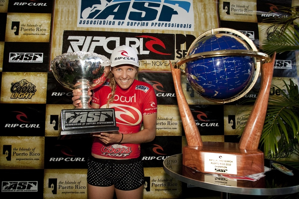CURRENT ASP WOMEN'S WORLD TITLE RACE TOP 5:   1.Stephanie Gilmore (AUS) 6528 pts  2.Sally Fitzgibbons (AUS) 4980 pts  3.Carissa Moore (HAW) 4644 pts  4.Sofia Mulanovich (PER) 4344 pts  5.Silvana Lima (BRA) 4164 pts   Coming up still is round three onwards of the men's with Kelly on the brink of KS10 immortality.      RIP CURL PRO SEARCH PUERTO RICO ROUND 3 MATCH-UPS:   Heat 1:Taj Burrow (AUS) vs. Dusty Payne (USA)  Heat 2:C.J. Hobgood (USA) vs. Taylor Knox (USA)  Heat 3:Dane Reynolds (USA) vs. Matt Wilkinson (AUS)  Heat 4:Adriano de Souza (BRA) vs. Tiago Pires (PRT)  Heat 5:Jeremy Flores (FRA) vs. Bobby Martinez (USA)  Heat 6:Kelly Slater (USA) vs. Dylan Graves (PRI)  Heat 7:Jordy Smith (ZAF) vs. Gabe Kling (USA)  Heat 8:Chris Davidson (AUS) vs. Fredrick Patacchia (HAW)  Heat 9:Owen Wright (AUS) vs. Brett Simpson (USA)  Heat 10:Bede Durbidge (AUS) vs. Dan Ross (AUS)  Heat 11:Michel Bourez (PYF) vs. Kieren Perrow (AUS)  Heat 12:Mick Fanning (AUS) vs. Roy Powers (HAW)   Keep informed  HERE .