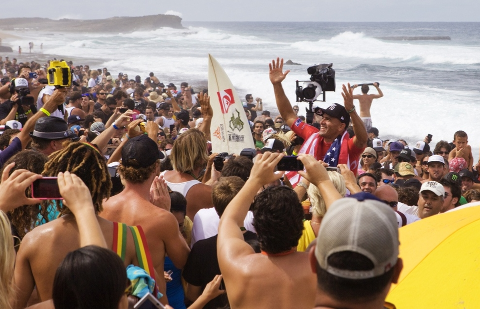 KELLY is the King, 10 times world champion and the greatest sportsman of our time. All he needed to do was win one heat and with a 75 percent plus heat win ratio he duly did just that. But that wasn't enough he bally went and won the whole Puerto Rican event.        The beach was packed it always is for a Kelly Slater heat, so imagine what it is like for an almost guaranteed Slater 10th world title. Beach crowd factor to the power of 10 and deafening cheers ringing around the dunes.    On almost home ground for the Floridian with his friends and family watching in person, Kelly did what you never thought possible. It will never be repeated in our generation, at least in the men's arena. Where were you when Slater won his 10th title? If you weren't watching the Rip Curl Pro Search in Puerto Rico then you missed out.    Both youngest world champ and the oldest -- at 38 no-one will eclipse the latter even if some bright spark is likely to do the former in a sport dominated by youth.