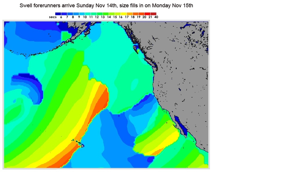 SOLID swell forecast to greet the opening days of the six week  Vans Triple Crown  season on the North Shore of Oahu (Hawaii).       Well overhead conditions are expected for  Haleiwa  to kick off the Reef Hawaiian Pro. The meat of the swell fills in on Monday November 15th and should be more than big enough for the comp to run. Light trade winds and enough sunshine to make the photogs happy should see an excellent couple of days at the throaty, barrelling right. Backing this up is another solid swell for Wednesday/Thursday.      We almost certainly are not going to see a season last year. This may be bad news for the Eddie Aikau competition but last year's El Ninio crazy train of maxed-out swells wasn't great news for the rest of the North Shore. A series of smaller swells will do just fine for classic days at Haleiwa, Sunset and Pipeline.