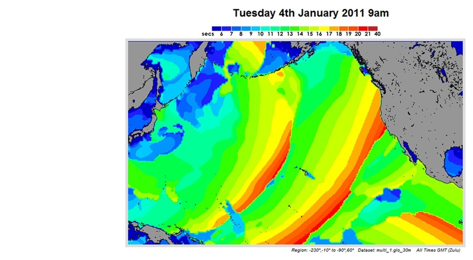 Whilst still not totally back into a traditional winter pattern the North Pacific high pressure released its grasp over the last couple of weeks allowing trains of north-westerly swell to pour down from lows spinning into and over the Aleutian Islands.   At around 20 seconds this swell peaked on Thursday, Jan 8th. A low profiled beast hiding its power in the period and unlocking the door for a series of swells over the coming weeks.    Quite often at this time of year systems trundle west to east bringing massive swell with wind to  Oregon , whereas the last few have turned north early sending a pulse of power but no wind.