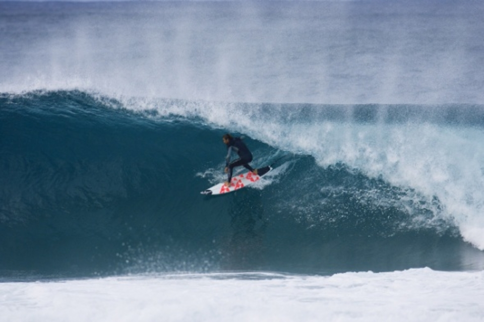 No stranger to sand-bottomed kegs, Kieren Perrow drove 45 minutes up the coast from his Byron Bay abode and drove high in some blue caves. Shortly after the session the boys all boarded a plane out of Brisbane's Eagle Farm Airport, bound for CENSORED