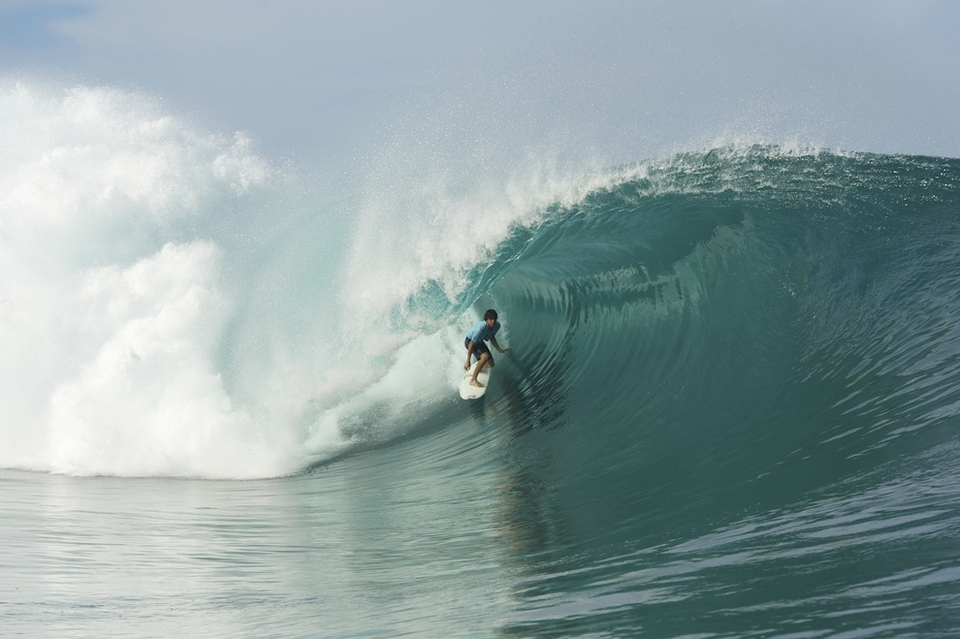 Kevin, the young brother of WCT surfer Michel Bourez was the other local standout, catching countless perfect waves.