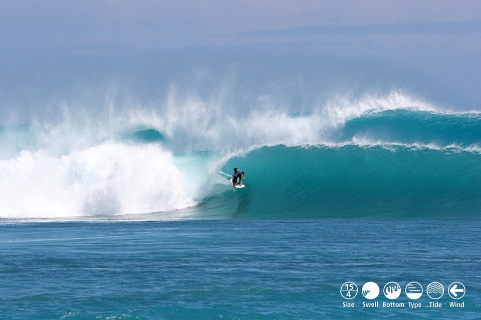 PLAYGROUNDS HOTSPOT     No-Kandui    The perfect name for the most difficult and technically demanding left in the Mentawai. A seemingly endless fringing reef stretches down the west coast of Karangmajat Island causing cylindrical, lefthand barrels to wink at viewers anchored on the NW corner. The featureless line-up makes it hard to know if you are in position and only an air-drop to full tilt, in the barrel, speed pump will be good enough to get into the wave and have a chance of weaving through some of the cavernous sections that spin off down the 500m reef. Rarely backs off enough to allow turns, this is a tube-fest of the highest order. Perfect conditions are SW swell, light E wind, mid to high tide and at least 8ft faces as the reef is bloodthirsty when small. Not too consistent, not too crowded and not for everyone!