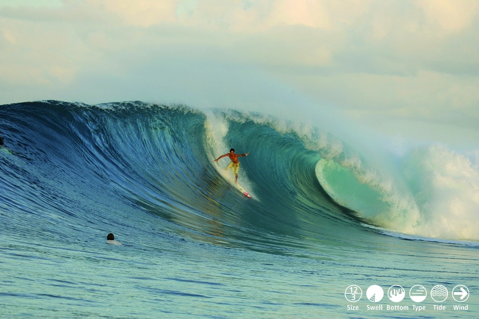 SIPORA HOTSPOT     Lance's Right    Lance's Right (or HT's) is the pin-up centrefold for the Mentawai islands, bringing a new machine-like level to the word perfection. At the top of the coral platform, The Office section breathes in sharply, scooping up the next lucky expert who is hoping to be there when it exhales deeply, then launches through the Main Peak and into the inside where the shallowness of the Surgeons Table awaits. Size determines whether these 3 link and if any turns can be attempted. Perfection arrives with 6-8ft of S-SW swell, light W or no wind and at least 2hrs of tide. It's surprisingly consistent considering the swell refraction required and the afternoon land breezes can clean it up quickly. Dangers are coral heads appearing, trying to duck dive when caught inside and being pushed too deep by the entrenched crowd. Answers are don't fall, go in over reef to deep paddling channel and surf somewhere else!