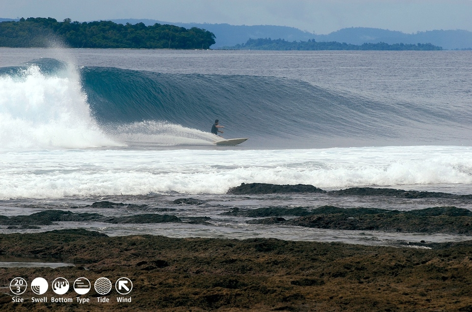 PAGAI HOTSPOT     Thunders    This left rumbles in from deep water exudes more power and heavy water characteristics than most Mentawai spots. Thick peaks pop up in a range of spots, requiring a bigger board to negotiate the long drop leading to either shoulder hook or inside drainer barrel sections. Refracts heavily, focusing powerful whitewash on anyone caught inside, a situation guaranteed for most surfers. Works from tiny to huge and speed barrel sections can appear up the reef in a moderate S swell, but this is the go-to spot when it's flat elsewhere. Thunders handles crowds, but not vice-versa, as only the dialled in chargers will suss the shifting line-up. Bonus is it's nice and deep at all tides and there's a beautiful beach to wander along and see the wave from the front.