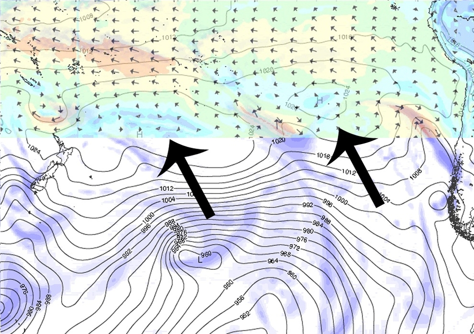 Is it all hype? What will it really look like?      Thurs:   Building to 8-10ft. At the time of writing the swell is sounding on the reef at Teahupoo but it's just about dawn, raining and no-one really knows what dawn will bring. But there are things we do know: It is in the rideable range and there is a lot of expectation. We also know there's a threat despite the will being there that the trade winds could kill it as a paddle comp, meaning a day of towing.     Fri:   Holding the peak of 8-10ft. Could well face the swell the same issue as Thursday with winds gusting 25mph/38kph from the south east.     Sat  12-15ft and as powerful as any swell we have on record over the previous 15 years. This will be a tow only day and one to remember. Also one for the record books? Probably.     Sun  back down to 8-10ft but much lighter winds and swell dropping until the end of the holding period. Sunday could well be the best day for balls-to-the-wall paddle barrels.   The problem is on the top of those two big arrows, a huge ridge of high pressure dominating the central South Pacific and creating a stronger than desirable trade wind flow from the south east.