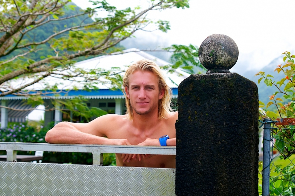 Owen Wright, who has been charging out here despite having a disagreement with the reef.
