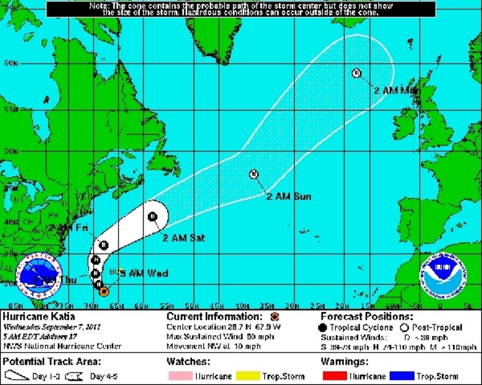 The projected path of Hurricane Katia