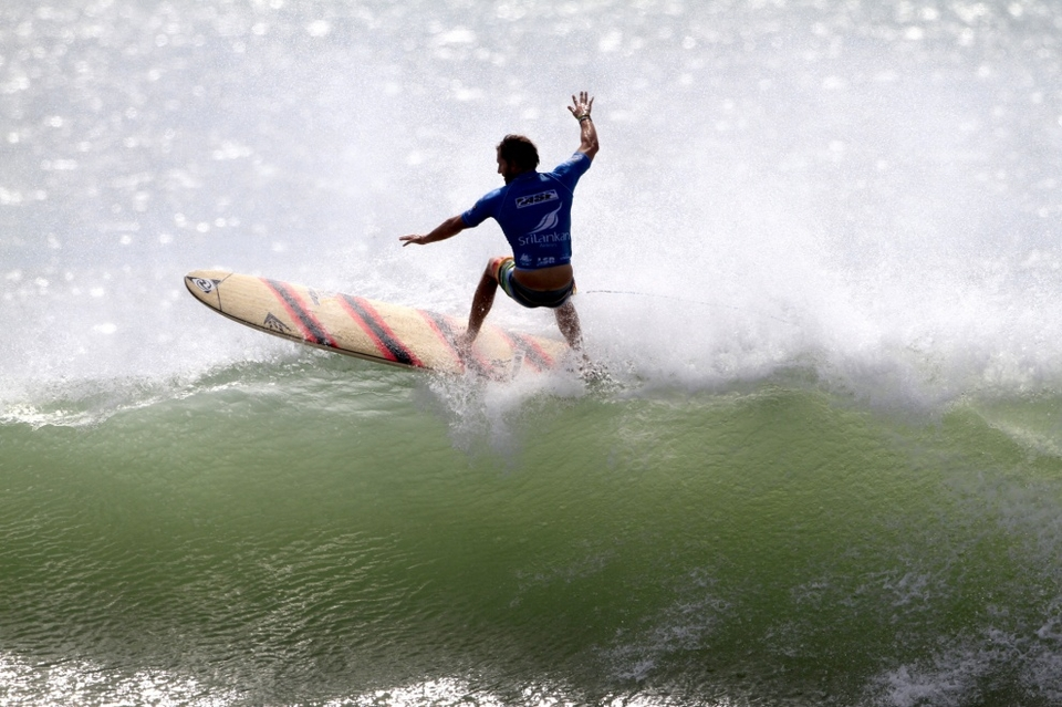 Californian Taylor Jensen finished runner-up, but was in-form surf of the men's event. His style and flow were unmatched, his bag of tricks was full. But he was unlucky to have his leggie come off in the final wasting precious time and energy chasing it down the point.