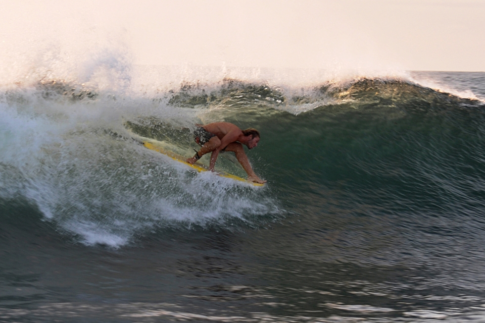 Some days we used wetsuits due to the cold water provided by the Humboldt Current.  But when the north swells arrived the water warmed up.  Joaquin Hang Five barrel on a twin fin 5,9 just before sunset.