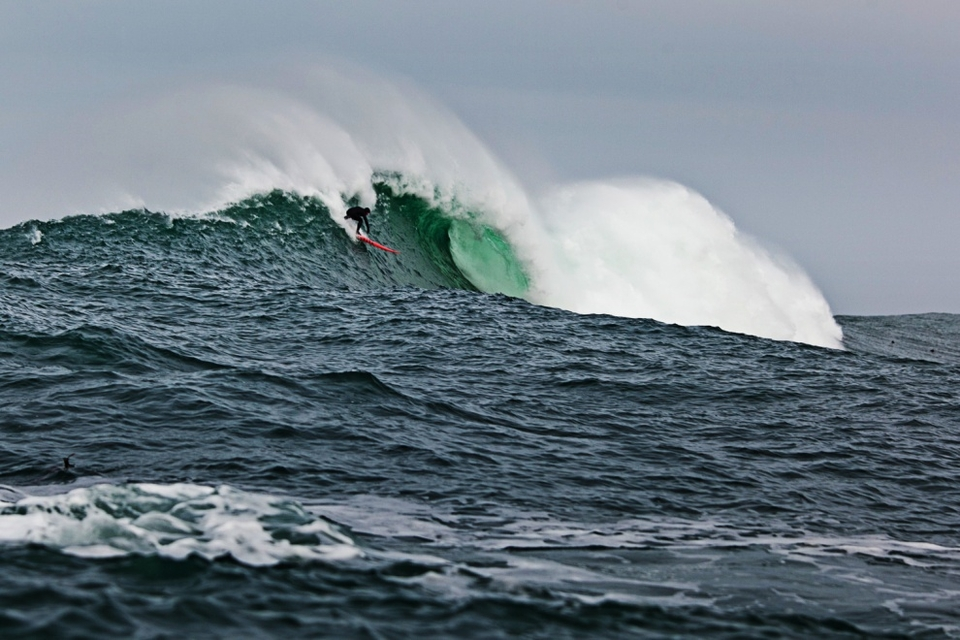 Cliff Skudin was fully committed all day. Here he's taming the beast on this monster drop.