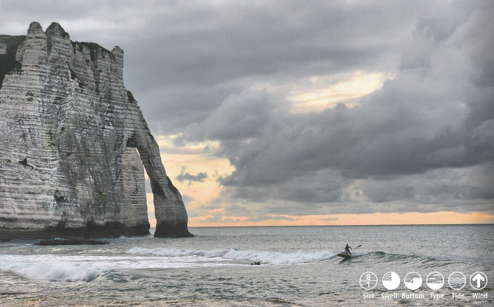 Normandy Hotspot    Etretat   Beneath the world-famous rock formation 'l'Aiguille Creuse' (the hollow needle), Etretat is a consistent mid tide peak that favours lefts. Best on wrapping SW swells, but also works on NE windchop. SW winds are cross-offshore and it maintains some shape even when onshores blow in. Beware the shallow inside and fierce shorepound. Always crowded on weekends so a little localism is possible. Difficult parking. Webcam.