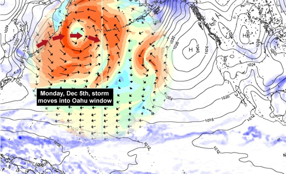 SOLID swell  forecast  for the first three days of the the Billabong Pipe Masters.     2011 has seen a North Pacific season bedevilled by blocking high pressure systems thanks to what is generally considered to be a weak El Nina episode. November saw one high surf day making it the worst November on record. Fortunately that's been changing with Sunset seing a couple of decent swells, albiet affected by tricky winds.    Most interesting is a deep low forming off the coast of Hokkaido, Japan. This hurricane-force system is  modelled  to track toward the central Aleutians with enough of a fetch pointed at Oahu to provide a NW swell ideal for Pipeline. The cavet to this is the amount of sand on the reef, always an issue at this time of year.