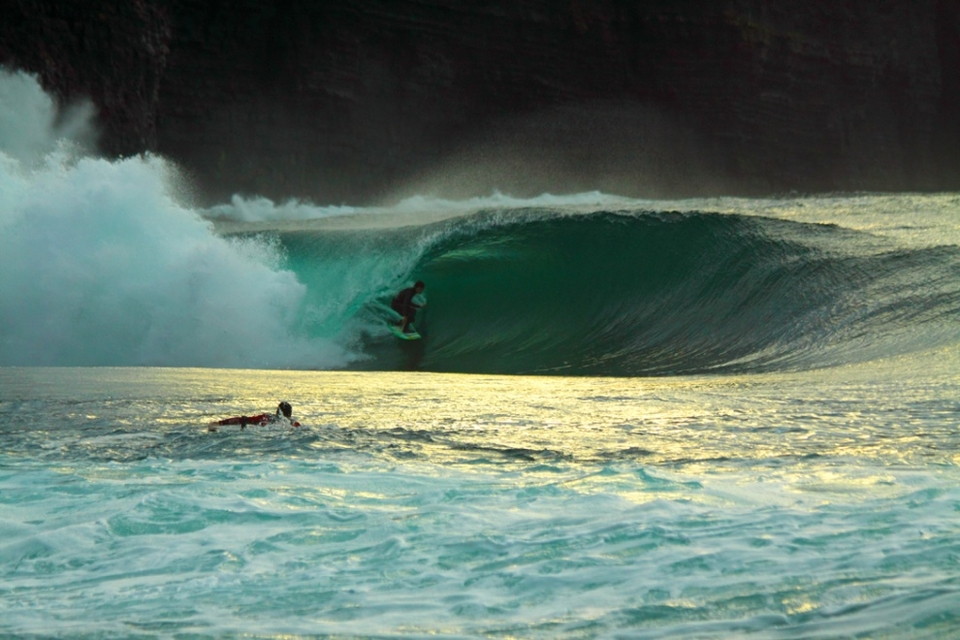 Fergal Smith dropping some speed in the fading light of a cold winter's day.