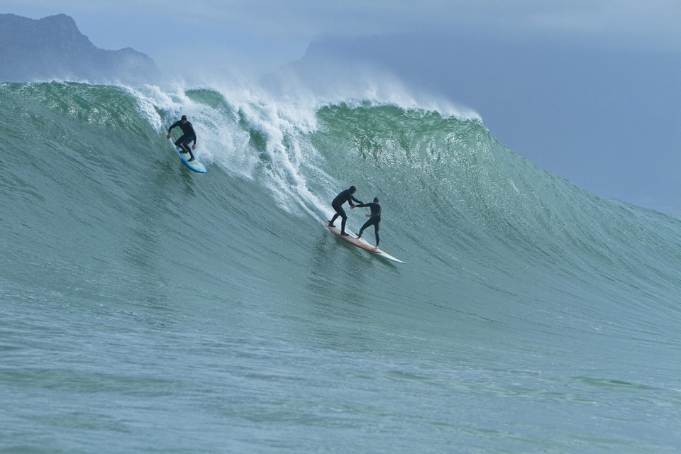 The big wave surfing fraternity has always been intimate, here Danny and Conn Bertish grab a moment.