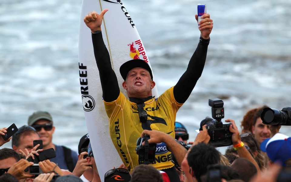 Mick Fanning claimed the 2012  Rip Curl Pro Bells Beach  over reigning 11-time ASP World Champion Kelly Slater in offshore three-to-five foot waves at Bells Beach.    Event No. 2 of 10 on the 2012 ASP World Championship Tour culminated in dramatic fashion today with pundits calling it the