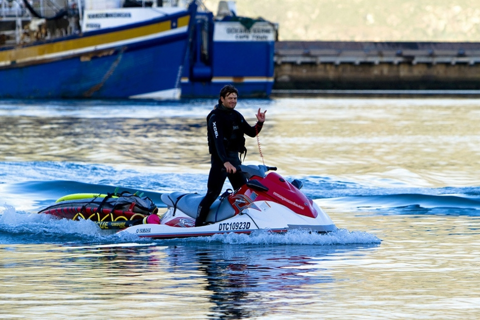 This is myself coming into the harbour on my new Yamaha FX jetski, stoked after a long day of surfing.