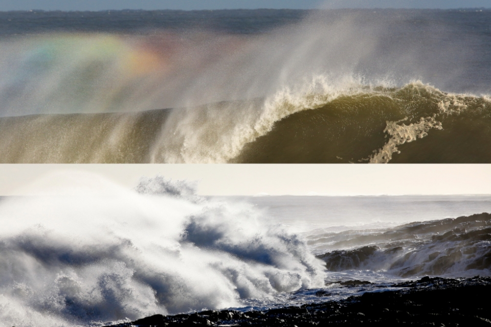 Regardless of the surf situation, it was an epic day for just shooting pictures with amazing low, winter sunlight with bags of contrast in every shot. Rainbows fluttered in the lips of every breaking wave and wild horses reminiscent of a Guinness advert strode through the crashing shorebreak.