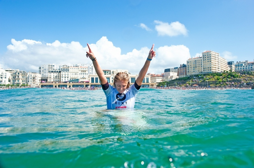 STEPHANIE Gilmore wins five world titles at the Roxy Pro Biarritz, pin back those lugs and listen, she's only 24.