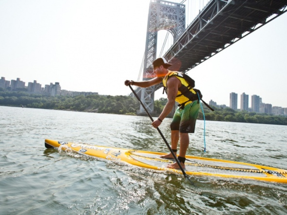 Rob Rojas powers under the George Washington bridge.