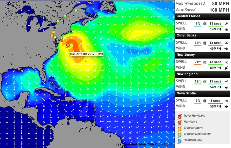 We'd advise keeping up to date with Sandy via the National Hurricane Centre  HERE . Or our hurricane swell forecasts  HERE .