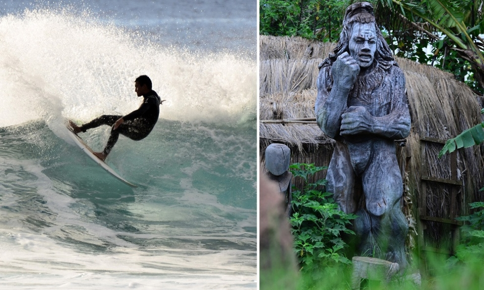 The art of surfing and sculpture by Brandon and Te Pou Huke respectively
