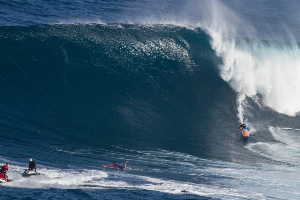 Tyler Larronde, son of French big wave rider Michel Larronde, is Maui born and bred thanks to his father's escape from Europe and already has several years of experience out here despite his relative lack of years.