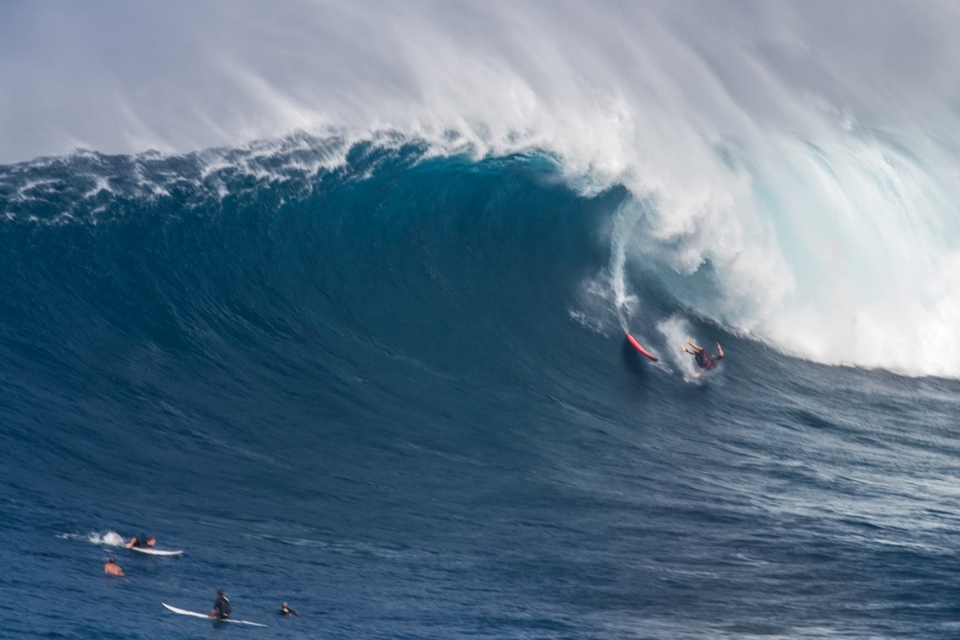Paying the piper is par for the course at Peahi, as Tom Dosland, Maui resident, knows only too well.