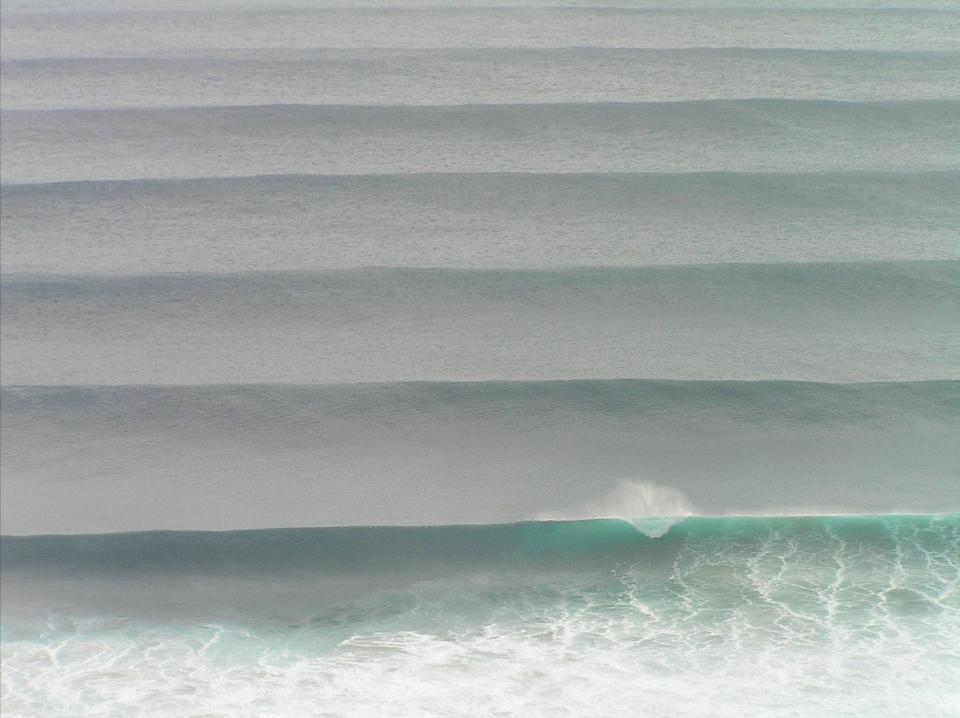 This image by Jez Browning was taken from way up on top of the huge cliffs - impossible to put a size on this swell but it was chunky - we know that.