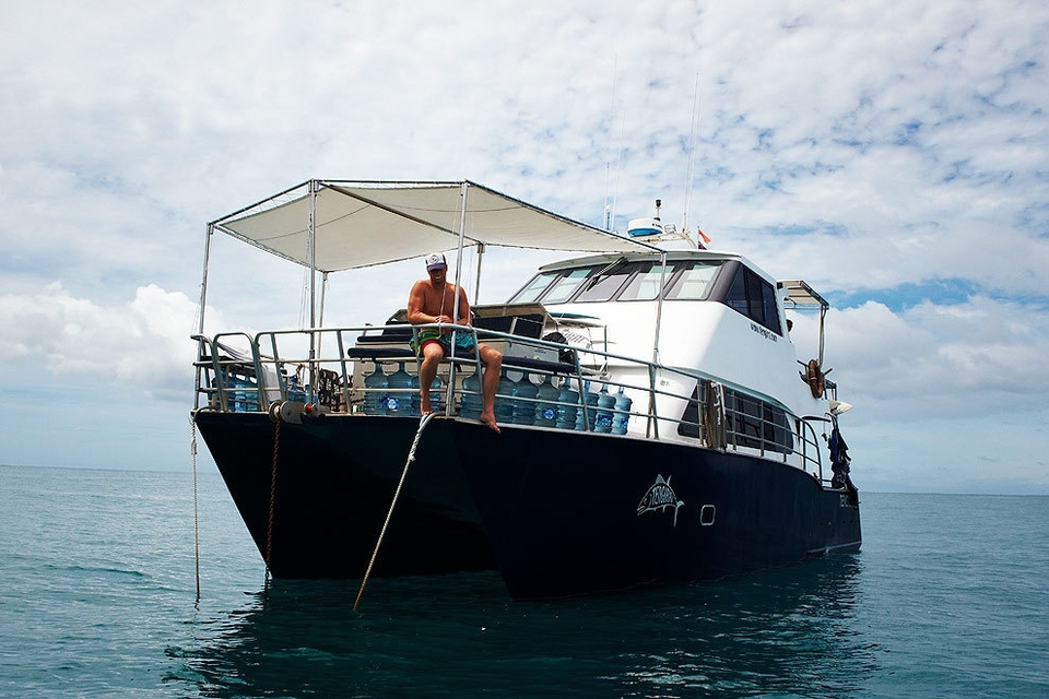 Our boat, Tengirri, in search of uncrowded perfection.