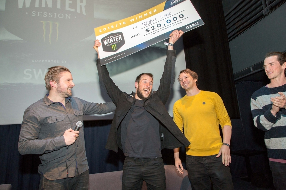 Allan Mulrooney, left, presents the winning cheque to Noah Lane (second left) with Jason Lock from MSW and Ash Palmer from Monster.