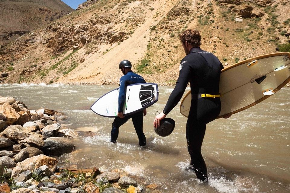 Water flows from the ice-capped mountains of Afghanistan, creating powerful river waves. Helmets mandatory.