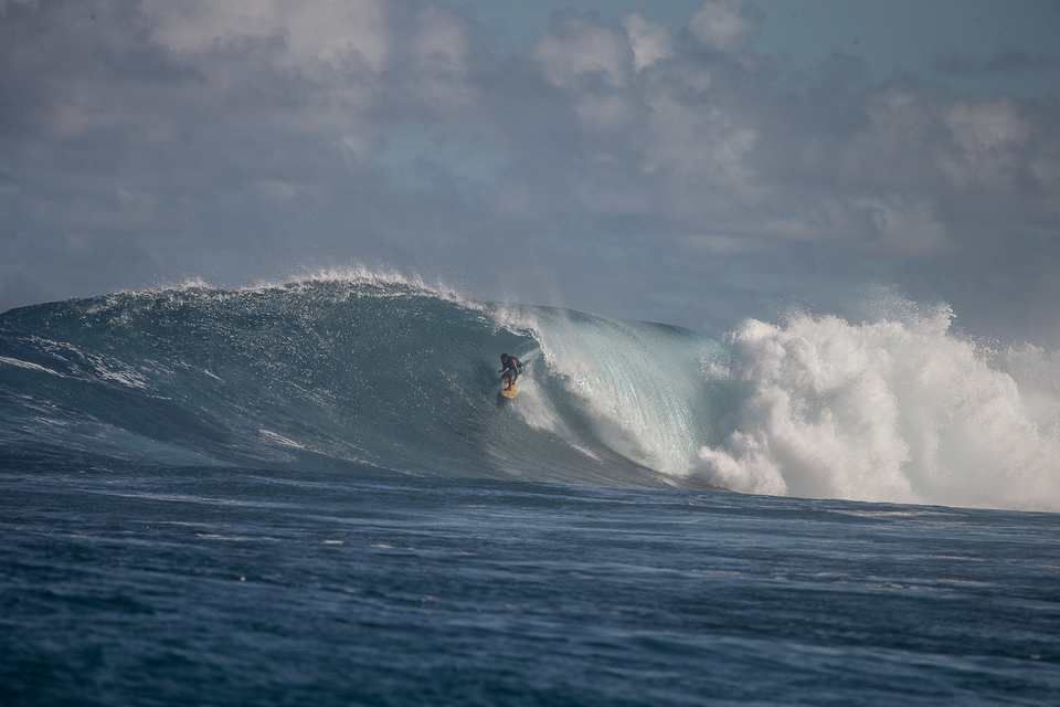 Mikala, capable in waves of most sizes - finding gold.