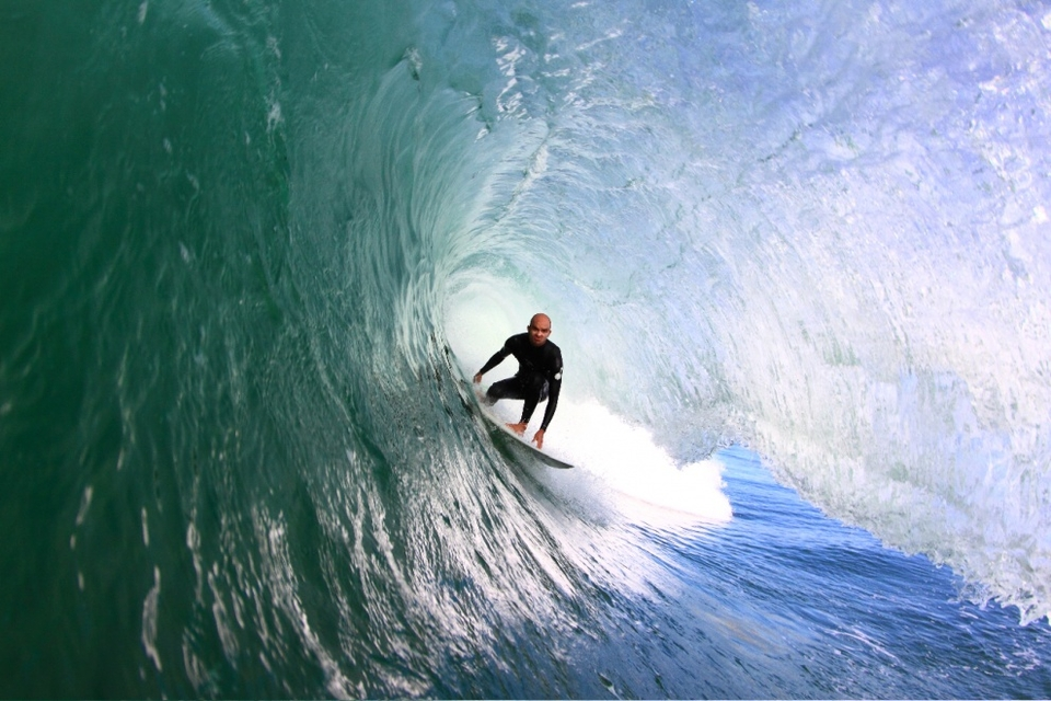Russ Molony tucking into a round one at Shelly Beach. Photo by  Grant Molony .