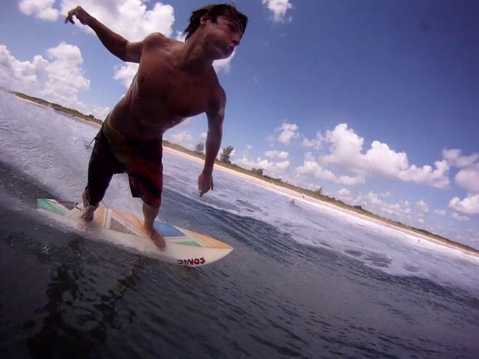 Austin Wiest buzzing the camera in Fort Pierce Florida.