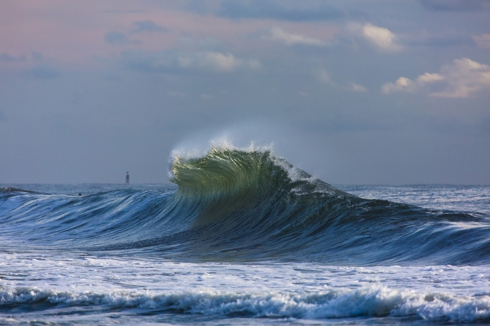 Image 6:   Belmar, New Jersey   Backwash and offshore winds at sunrise on the East Coast.