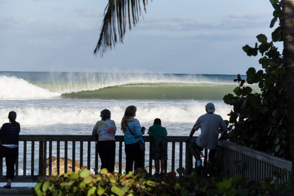 Crowds gather to marvel at the ferocity at Deerfield Beach, Florida.