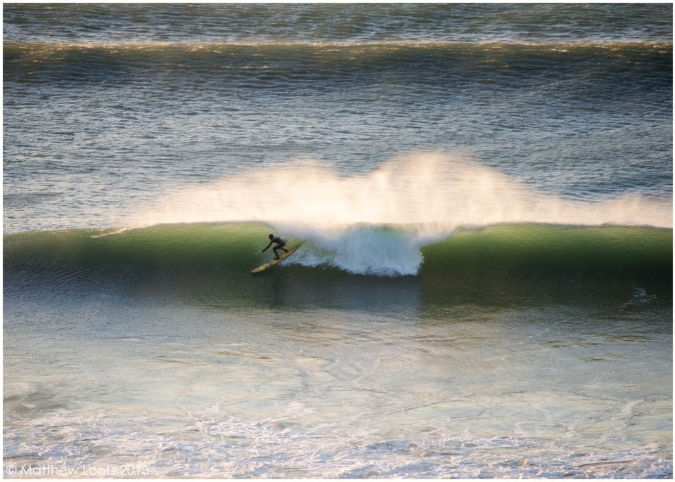 Ben Skinner on one of the many bombs that came through at Porthtowan yesterday.
