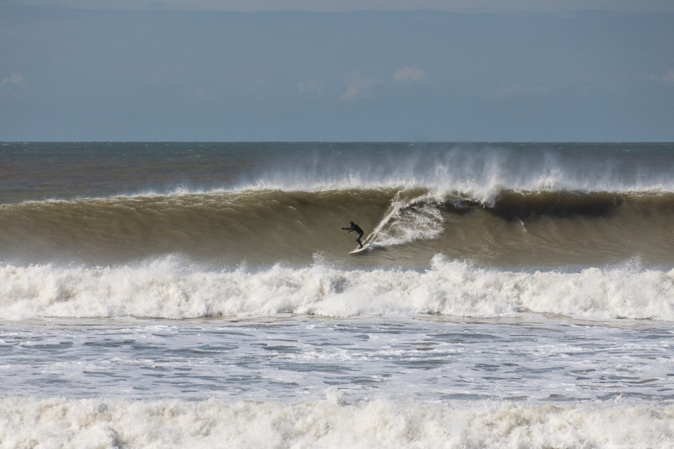Al Reed on one of the waves of the day at Compton on the Isle of Wight on March 31st.